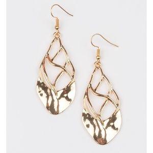 Swanky Gold Hammered Earrings